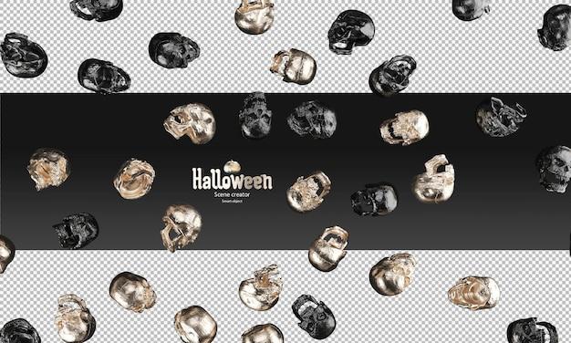 Rozrzucone czarnych metalicznych i złotych czaszek 3d rekwizyt na halloween
