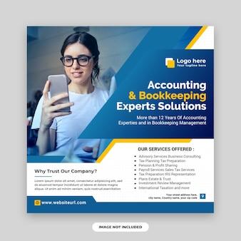 Rozwiązania ekspertów w zakresie rachunkowości i księgowości, posty w mediach społecznościowych i szablon projektu banerów internetowych