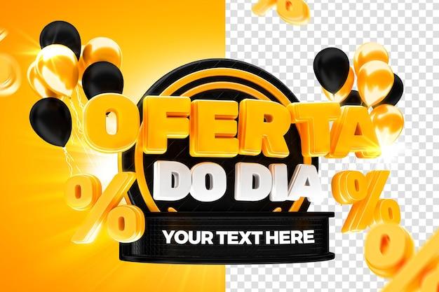 Rynkowa oferta dnia na czarną etykietę 50 procent brazylijskiej kampanii 3d render
