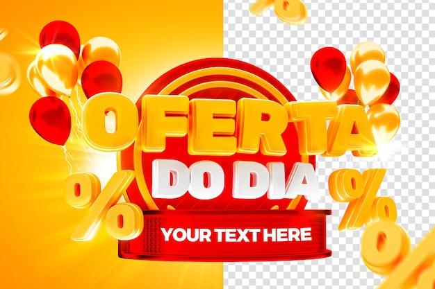 Rynkowa oferta dnia z czerwoną etykietą 50 procent brazylijskiej kampanii 3d render
