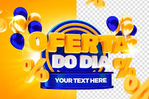 Rynkowa oferta dnia z niebieską etykietą 50 procent brazylijskiej kampanii 3d render