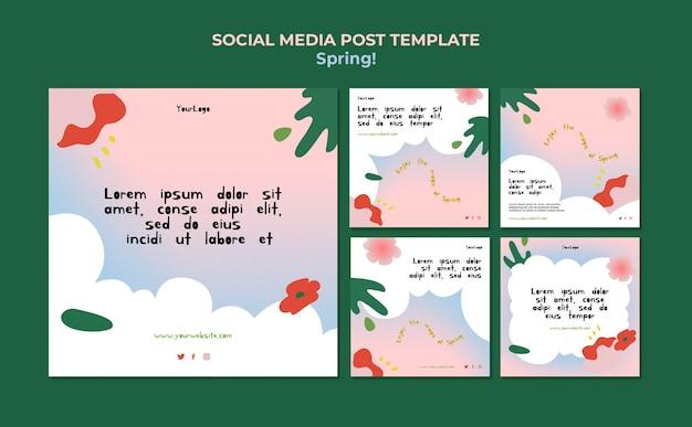 Rysowane wiosenne posty w mediach społecznościowych
