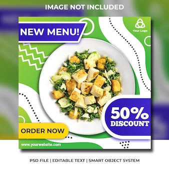 Sałatka medialna zdrowe jedzenie sałatka greend i niebieski szablon