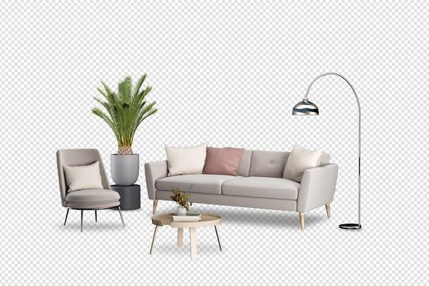 Salon ma sofę i dekorację w renderowaniu 3d
