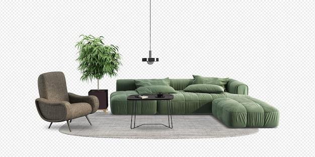 Salon Ma Sofę I Dekorację W Renderowaniu 3d Premium Psd