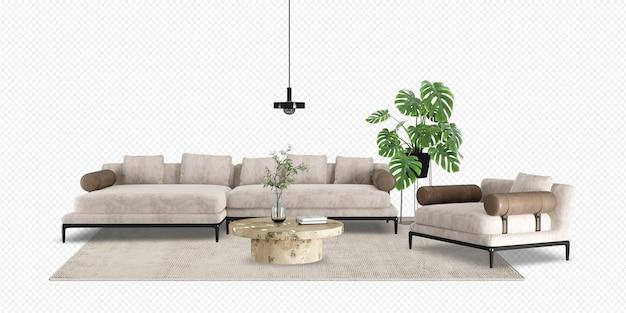 Salon ma sofę i monsterę w renderowaniu 3d