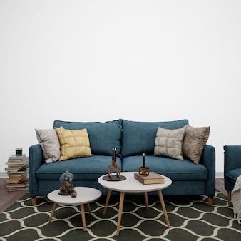 Salon ozdobiony sofą i książkami