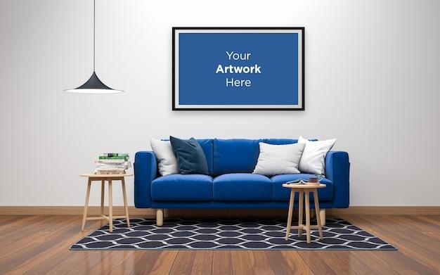 Salon wewnętrzna sofa ze stolikami i pustą ramką na zdjęcia makieta