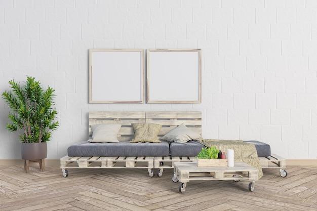 Salon z drewnianą sofą paletową i ramami