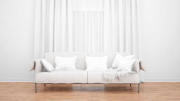 Salon z elegancką sofą i dużym oknem z zasłonami. minimalna koncepcja