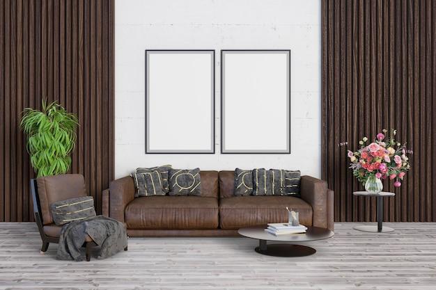Salon z luksusowym brązowym odcieniem i ramkami