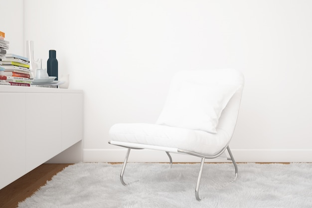 Salon z makietą fotela i elementami dekoracyjnymi