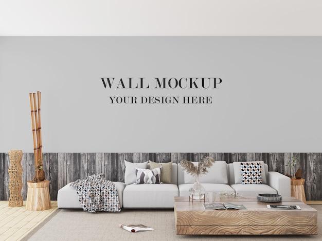 Salon z makietą ścienną w mieszanych odcieniach drewna