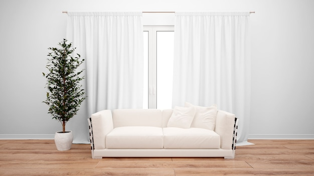Salon z minimalistyczną sofą i dużym oknem z białymi zasłonami