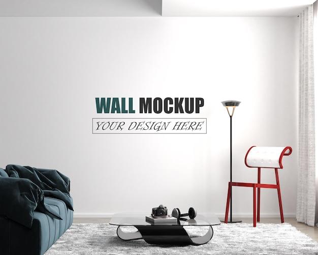 Salon z niebieską makietą ścienną sofy