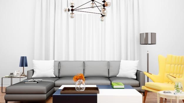 Salon z szarą sofą i przedmiotami