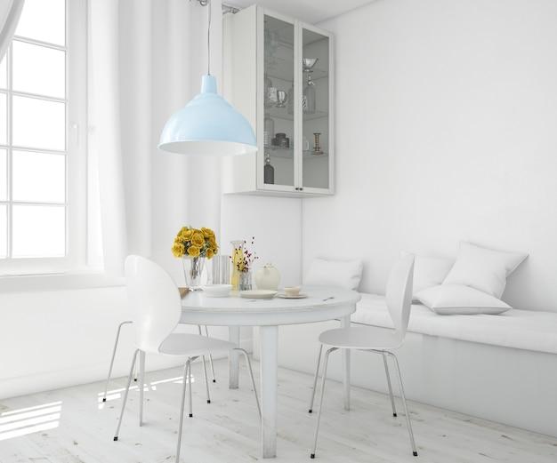 Salon ze stołem i sofą
