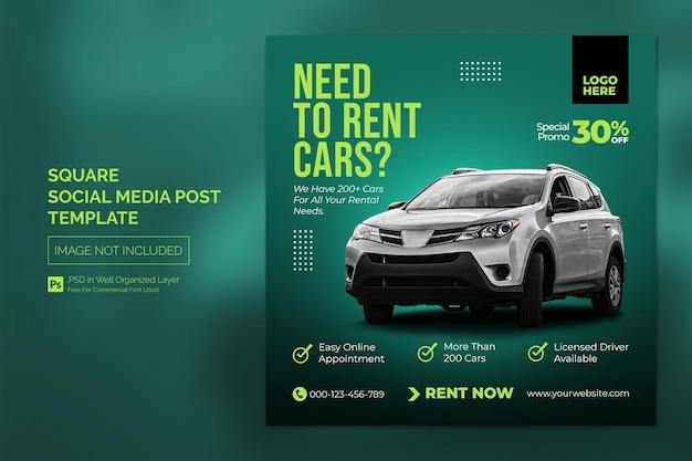 Samochód w mediach społecznościowych na instagramie lub w kwadratowym szablonie reklamowym w sieci web