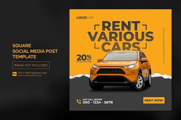 Samochodowe media społecznościowe post na instagram lub kwadratowy baner reklamowy