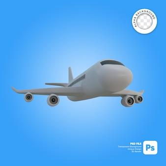 Samolot komercyjny w locie obiektu 3d