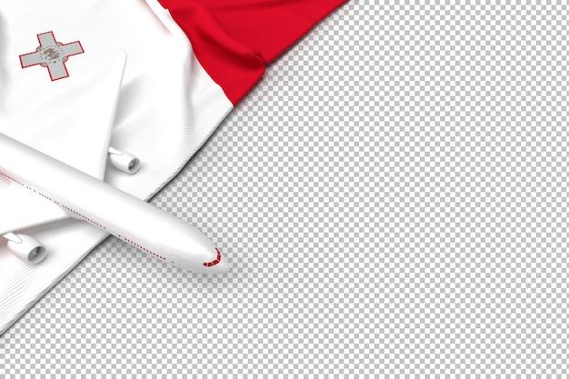 Samolot pasażerski i flaga malty