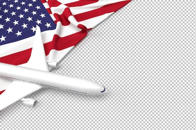 Samolot pasażerski i flaga usa