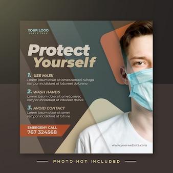 Samoobrona, aby uniknąć wirusa korony, szablon posta na instagramie