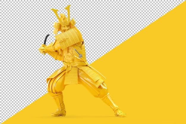 Samuraj wojownik huśta się z renderowanym mieczem katana