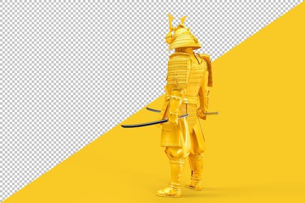Samuraj wojownik w pełnej zbroi z renderowaniem katany