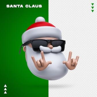 Santa claus okulary renderowania 3d na białym tle