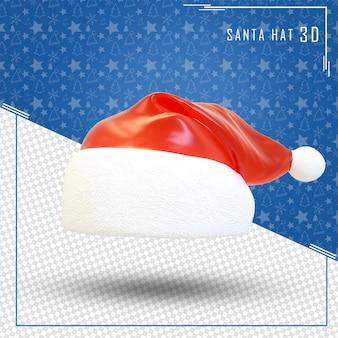Santa hat 3d wesołych świąt na białym tle