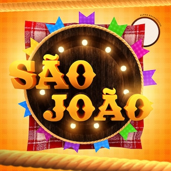 Sao joao brazylijska etykieta partii renderowania 3d