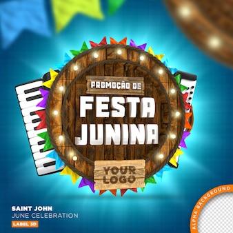 Sao joao festa junina drewniana rama, renderowanie 3d