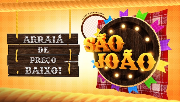 Sao joao impreza brazylijska oferuje baner koncepcja renderowania 3d