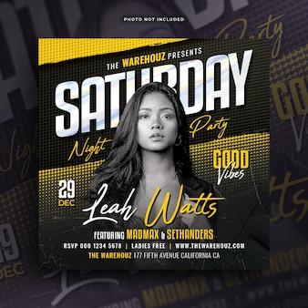Saturday night party flyer post w mediach społecznościowych i baner internetowy