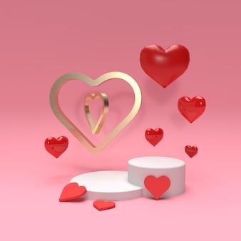 Scena 3d produktu z sercami i złotym pierścieniem na reklamę