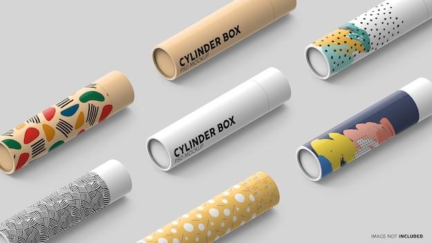 Scena kolekcji makiet cylindrycznych pudełek