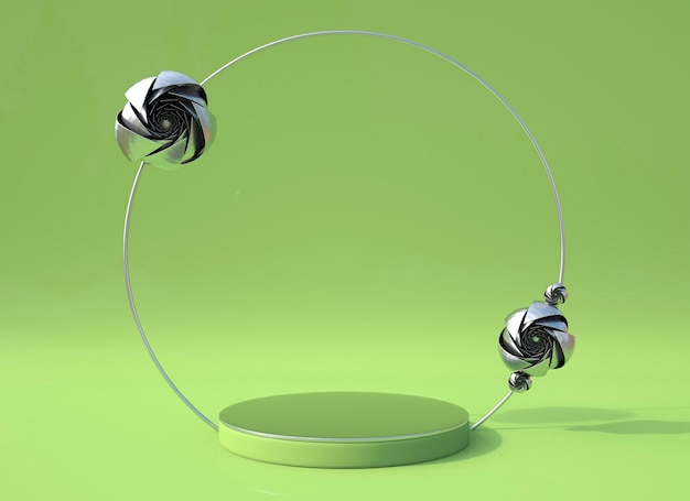 Scena renderowania 3d z kwiatem róży i podium w kształcie geometrycznym do wyświetlania produktów, minimalna koncepcja.
