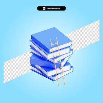 Schody do stosów książek 3d render ilustracja na białym tle
