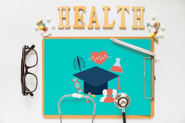 Schowek mockup z pojęciem zdrowia