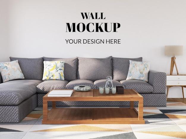 Ściana makieta wnętrza nowoczesny salon z szarą sofą