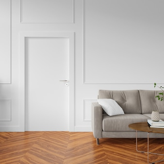 Ściana z pustymi drzwiami i sofą