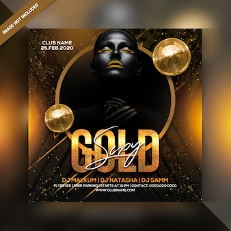 Seksowna złota imprezowa ulotka