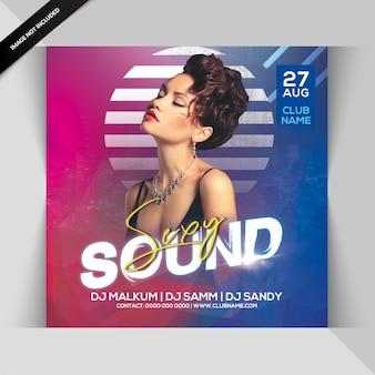 Seksowny szablon party sound flyer