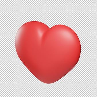 Serce miłość ikona ilustracja 3d