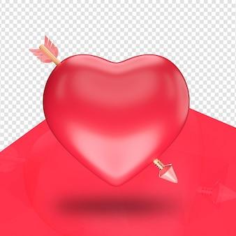 Serce ze strzałką na białym tle