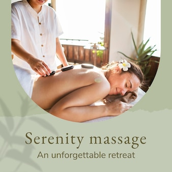 Serenity masaż wellness szablon psd z gorącymi kamieniami w tle