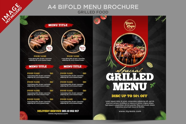Seria broszur a4 bifold food grilled menu