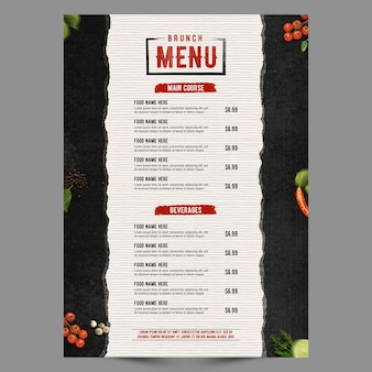 Seria menu czarny plakat retro
