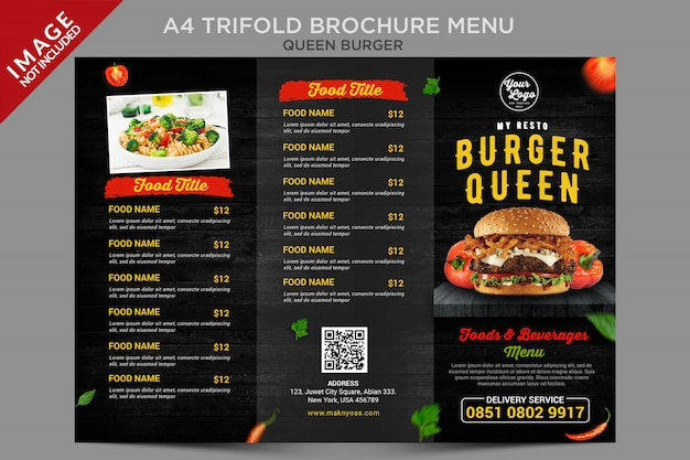 Seria menu potrójnej broszury queen burger w stylu vintage